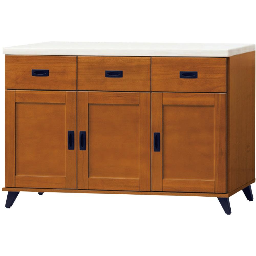 文創集 瑞克4尺雲紋白石面餐櫃/收納櫃(二色可選)-121x40x83cm免組
