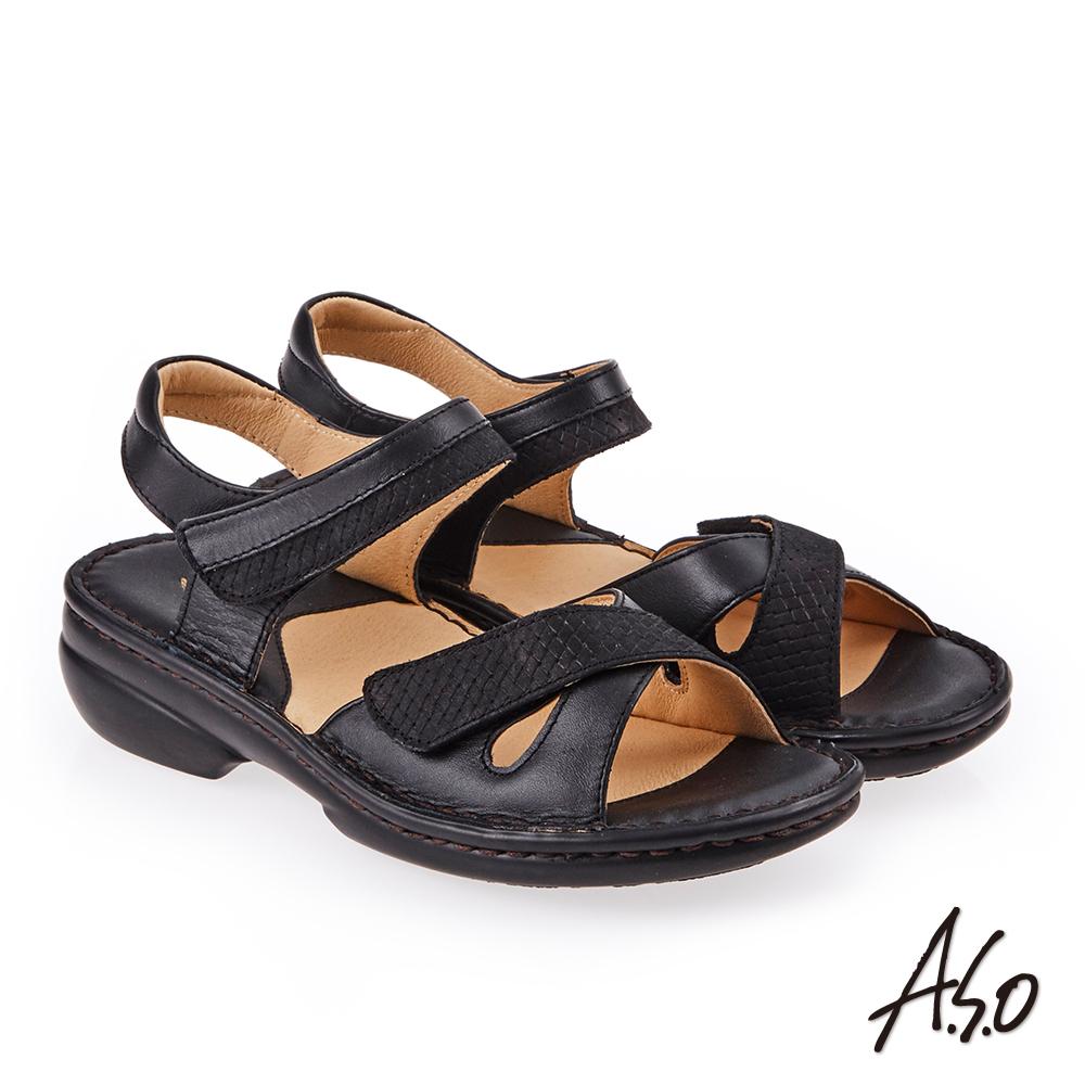 A.S.O 手縫氣墊 全真皮寬楦魔鬼氈休閒氣墊涼鞋 黑