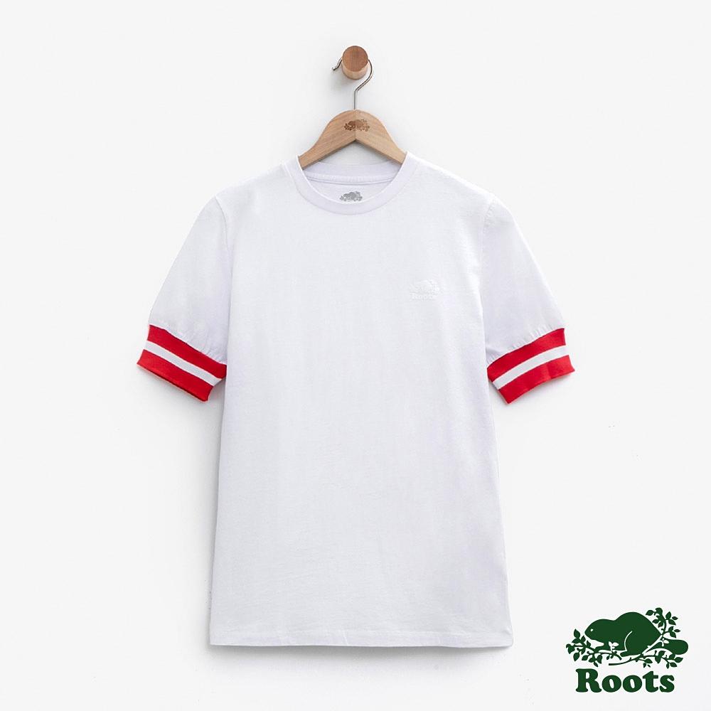 Roots女裝-條紋飾邊短袖T恤-白色