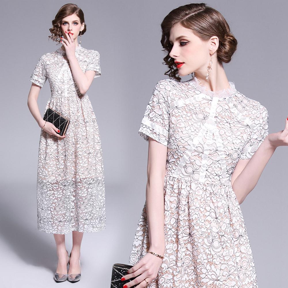 甜美淑女高腰過膝雪紡洋裝S-XL-M2M