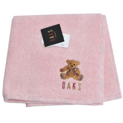 DAKS 經典品牌格紋字母可愛泰迪熊刺繡LOGO小方巾(粉紅系)