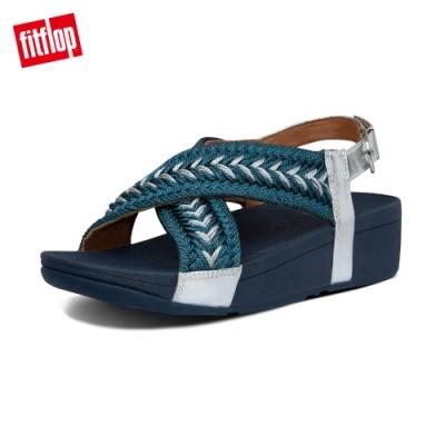 FitFlop MALLORY METALLIC WEAVE BACK-STRAP SANDALS 針織交叉後帶涼鞋-女(海藍色)