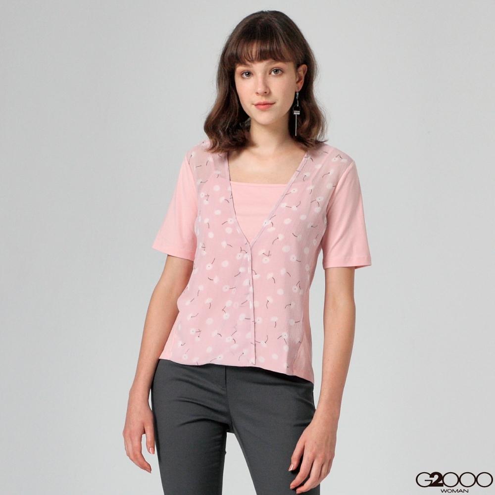 G2000印花短袖休閒T恤-粉紅色