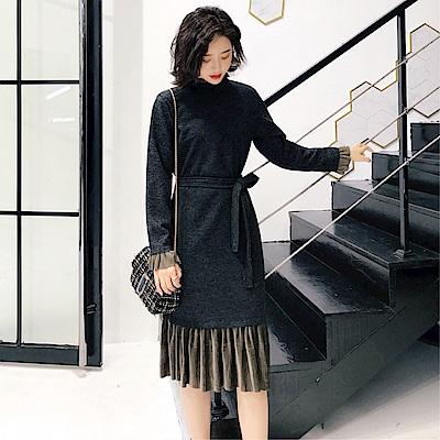 DABI 韓版立領壓褶兔毛呢配腰帶長袖洋裝