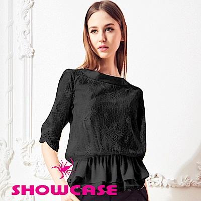【SHOWCASE】假二件式雙層縮襬蕾絲上衣(黑)