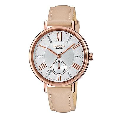 SHEEN氣質簡約俐落皮帶指針腕錶-米帶x白面(SHE-3066PGL-7B)/41mm