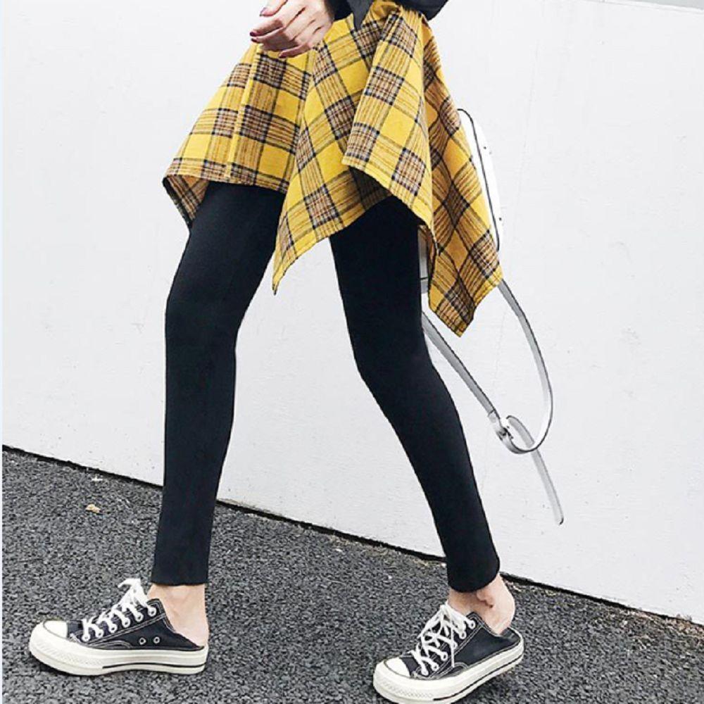 【brs】日系格紋襯衫繫腰假兩件褲裙
