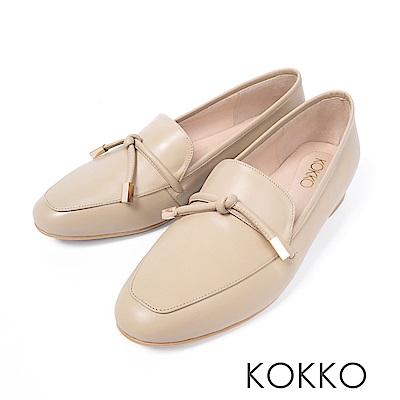 KOKKO - 倫敦旅人透氣真皮方頭鞋-美膚米