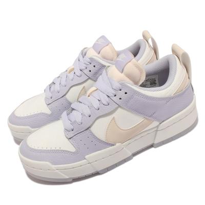Nike 休閒鞋 Dunk Low Disrupt 女鞋 解構設計 厚底 皮革 穿搭 薰衣草紫 白 DJ3077-100