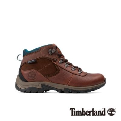 Timberland 女款棕色全粒面皮革防水厚底中筒登山鞋|A1WK8