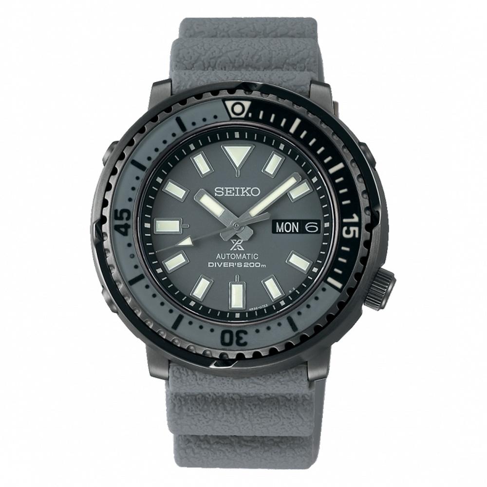 SEIKO 精工PROSPEX STREET 新鮪魚罐頭單向旋轉錶圈矽膠錶-鯊魚灰SRPE31J1/4R36-08A0H