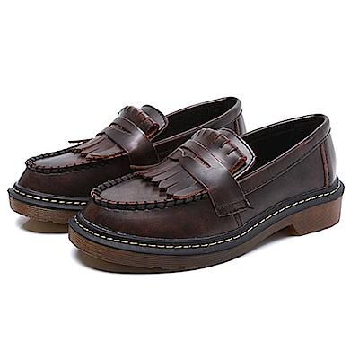KEITH-WILL時尚鞋館 英倫復古流蘇造型低跟牛津鞋-咖色
