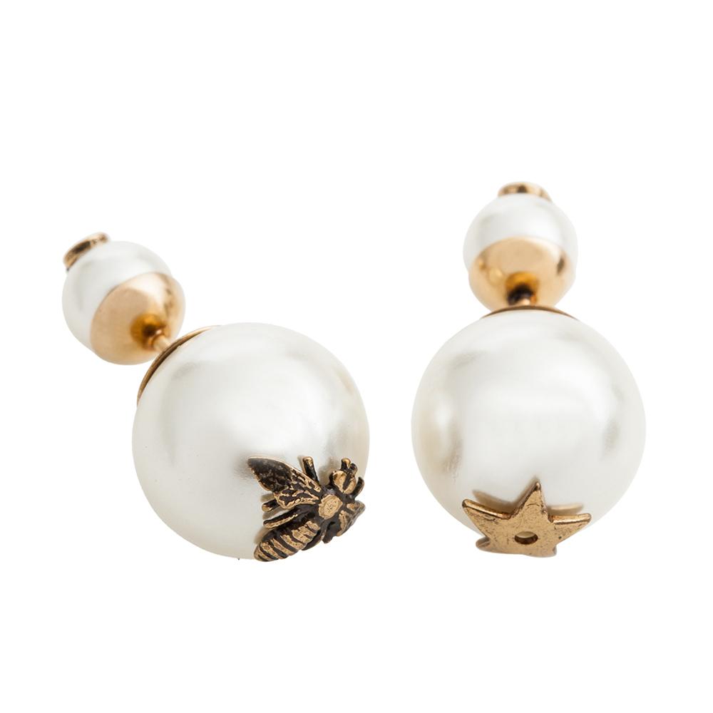 Dior Tribales 鍍金復古金屬和白色珍珠星星和蜜蜂迷你穿式耳環
