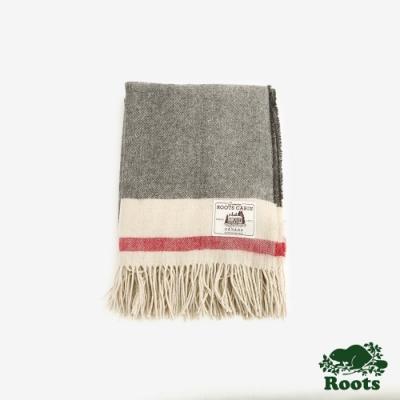 ROOTS配件- 溫馨佳節羊毛披肩 -灰