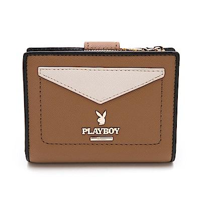 PLAYBOY- 二折式短夾 小時代系列 -駝色