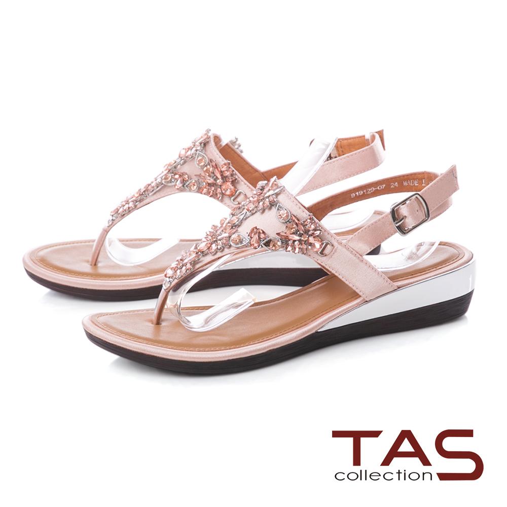 TAS 華麗水鑽夾腳低跟涼鞋-迷人粉