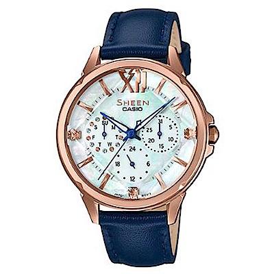 SHEEN 羅馬數字優雅皮帶腕錶-藍色(SHE-3056PGL-7B)/38mm