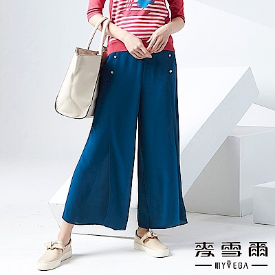 【麥雪爾】湖藍排釦裝飾雪紡寬褲