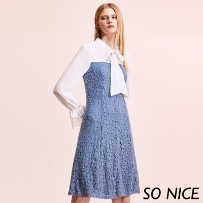 SO NICE優雅領結拼接蕾絲洋裝