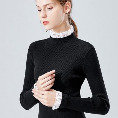專注內搭-甜美針織衫內搭長袖緊身拼接小立領荷葉袖上衣(S-3XL可選)