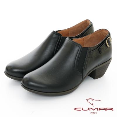 【CUMAR】極簡生活 - 簡約側邊鬆緊粗跟踝靴-黑