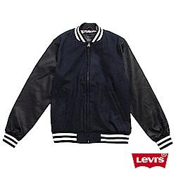 Levis 男款 棒球外套 異材質拼接 黑白條紋縮口