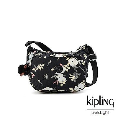 Kipling 沉靜黑浪漫花卉雙層側背包-CAI