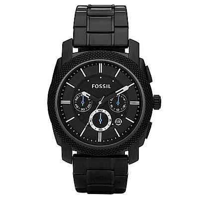 FOSSIL 世界的大王三眼鋼帶男錶(FS4552)-黑色x46mm