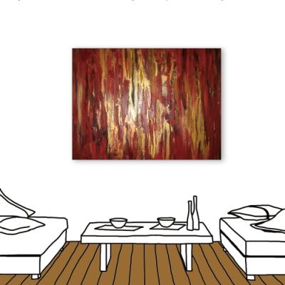 24mama掛畫-單聯式 酒紅金箔 藝術抽象 油畫風無框畫 60X80cm-微醺的矜貴