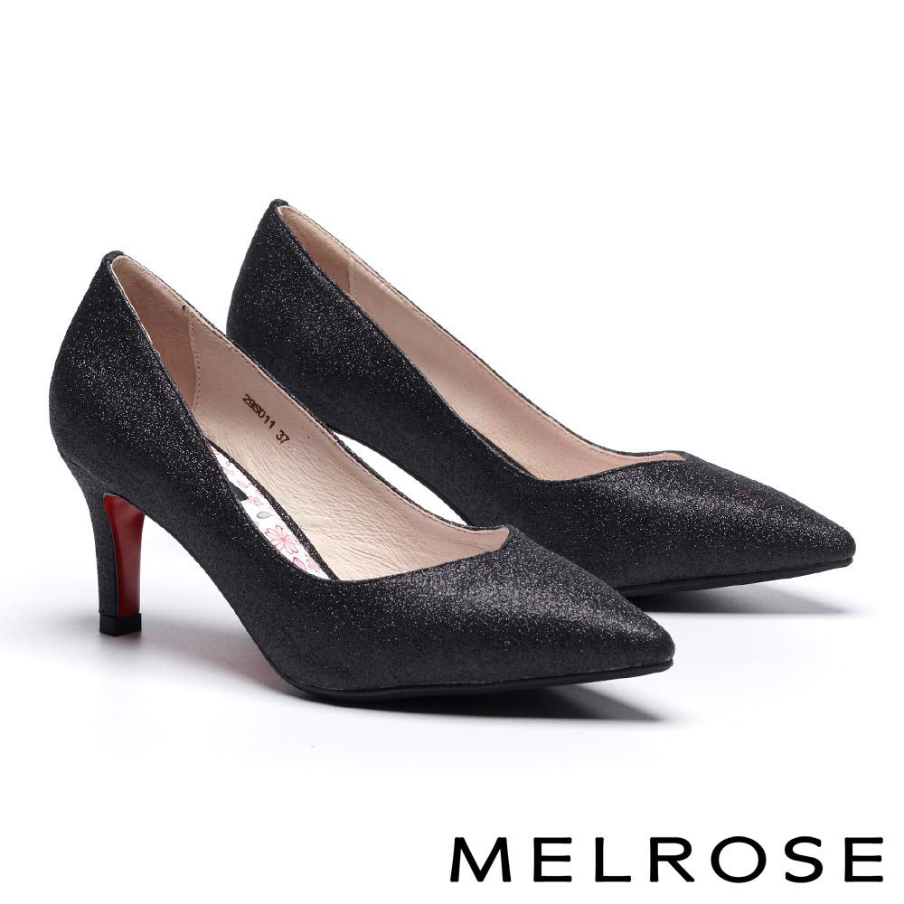 高跟鞋 MELROSE 細緻迷人閃耀金蔥尖頭高跟鞋-黑