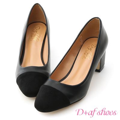 D+AF 赫本典範.小香風微方頭復古中跟鞋*黑