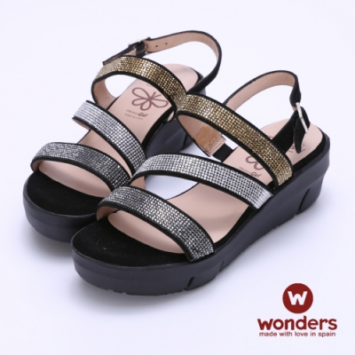 WONDERS西班牙進口 FLY系列 三色亮麗水鑽後帶楔型涼鞋-黑色