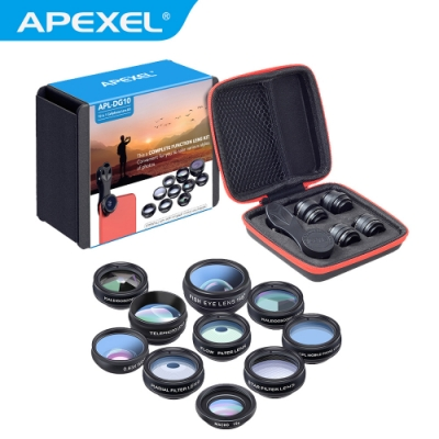 【APEXEL】10 in1 超級手機鏡頭大全套組(APL-DG10)