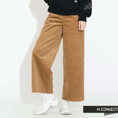 H:CONNECT 韓國品牌 女裝 - 後鬆緊燈芯絨寬褲 - 卡其