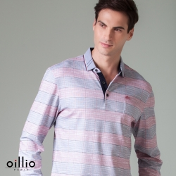 oillio歐洲貴族 男款 長袖POLO衫 超柔防皺透氣 紳士口袋 桃紅色