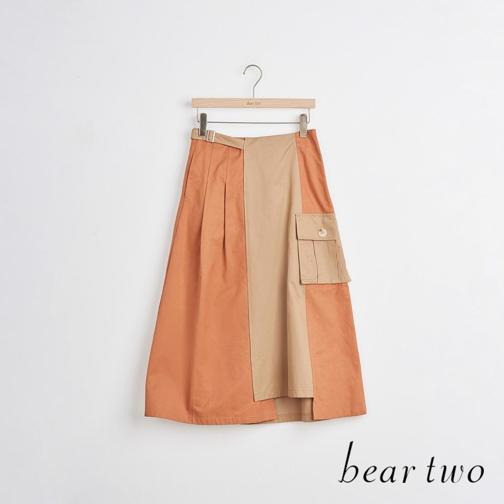 beartwo- 雙色拼接中長裙-兩色