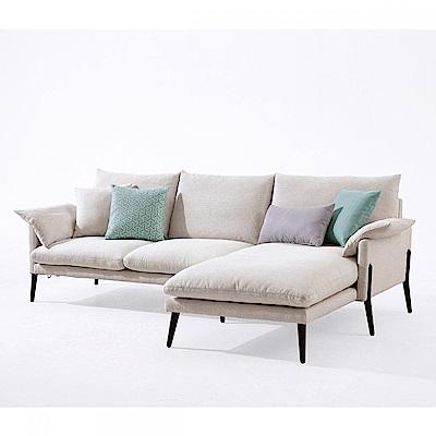hoi! 輕奢現代可拆洗北歐L型布沙發(附抱枕)RAG1K-米白色 (H014215975)