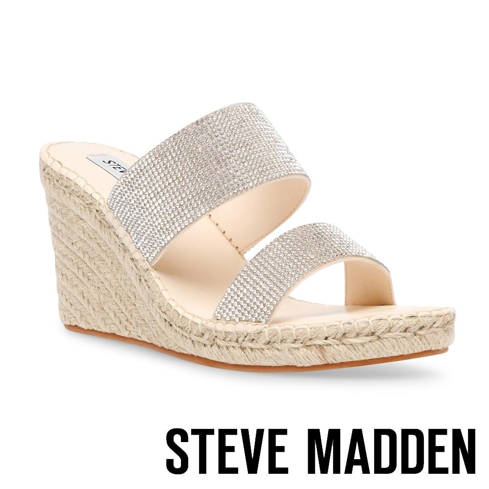 STEVE MADDEN-ASTORWAY-R 閃鑽雙帶楔型涼拖鞋-米杏色