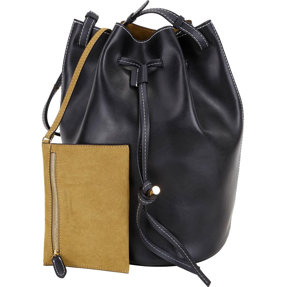 Stella McCartney 明線車縫附萬用包手提/肩背水桶包(黑色)