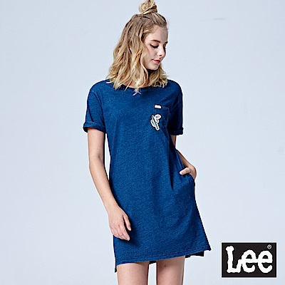 Lee 小口袋長版短袖圓領TEE-INDIGO