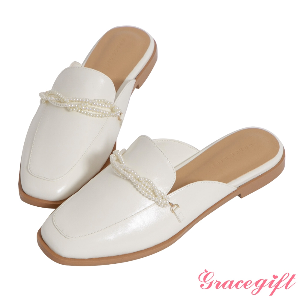 Grace gift-珍珠飾鍊低跟穆勒鞋 白