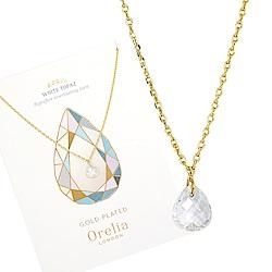Orelia英國品牌 四月白色黃玉誕生石金色項鍊