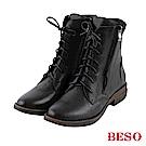 BESO 潮流酷感 拉鏈綁帶低跟短靴~黑