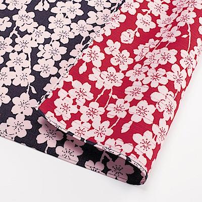 日本Prairiedog 伊砂文樣兩面風呂敷/便當巾-垂枝櫻花(深藍/紅)