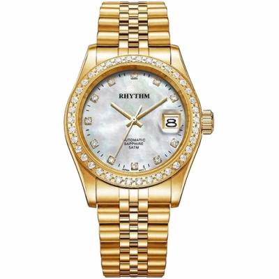 RHYTHM日本麗聲 尊爵晶鑽機械珍珠貝手錶-38mm RA1627S04