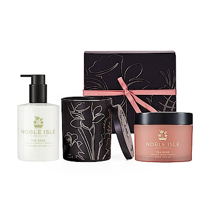 NOBLE ISLE 茶玫瑰寵愛香氛護膚禮盒 (身體霜250mL+護手乳250mL+蠟燭200g)