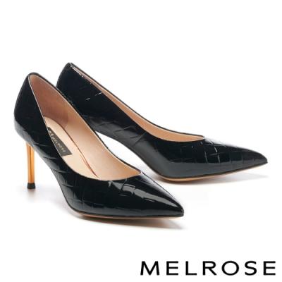高跟鞋 MELROSE 極簡時尚金屬鍍跟尖頭高跟鞋-黑