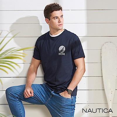 Nautica 夕陽圖騰短袖T恤-深藍