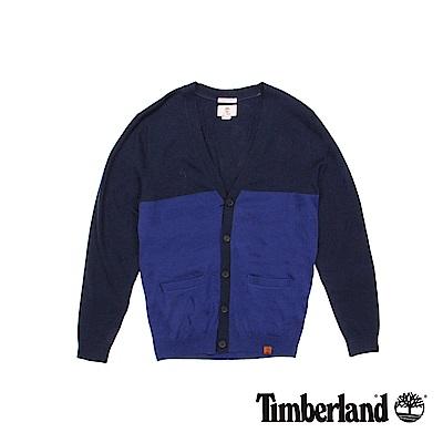 Timberland 男款深藍色V領開襟羊毛針織衫