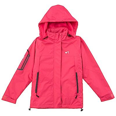 【V.TEAM】連帽功能性厚外套-淺紅-女款
